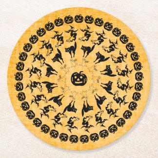 Orange Halloween Fun Font Art Circles Pattern Round Paper Coaster