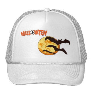 Orange Halloween Moon with Bats Cap