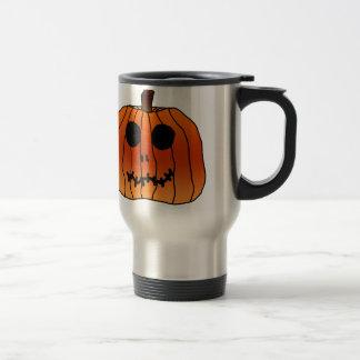 Orange Halloween Pumpkin Skeleton Face Mugs