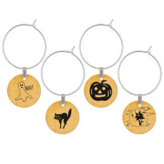Orange Halloween Set - Witch, Ghost, Cat, Pumpkin Wine Charm