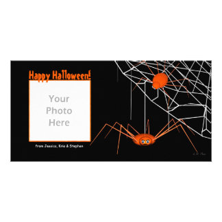 Orange Halloween Spiders Photo Greeting Card
