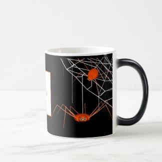 Orange Halloween Spiders Photo Frame Magic Mug