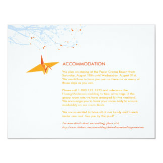 Orange Hanging Paper Cranes Wedding Insert Card 11 Cm X 14 Cm Invitation Card
