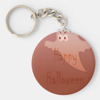 Orange Happy Halloween Ghost Basic Round Button Key Ring