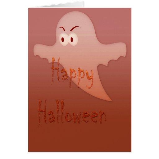 Orange Happy Halloween Ghost Cards