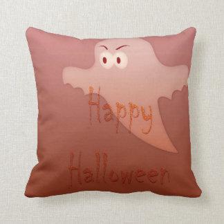 Orange Happy Halloween Ghost Throw Pillows