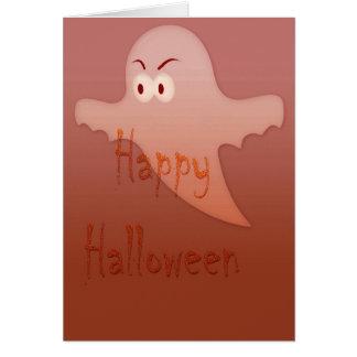 Orange Happy Halloween Ghost Greeting Card