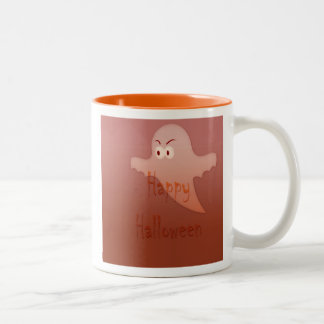 Orange Happy Halloween Ghost Mugs