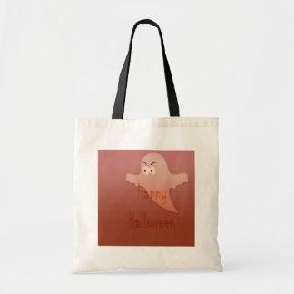 Orange Happy Halloween Ghost Tote Bags