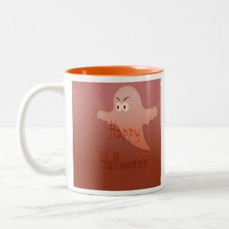 Orange Happy Halloween Ghost Two-Tone Mug