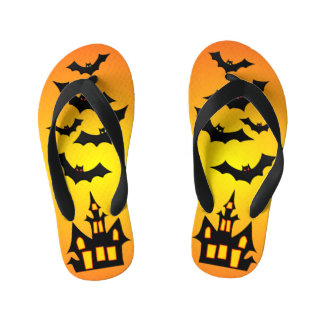 Orange Haunted House and Bats Kid's Thongs