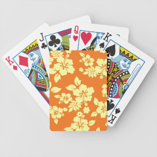 Orange Hawaiian Bicycle Playing Cards