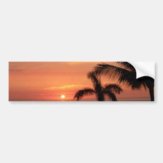 Orange Hawaiian Sunset, Birds and Palm Trees Bumper Sticker
