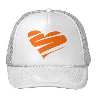 orange heart trucker hat