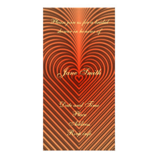 orange heart pattern personalised photo card
