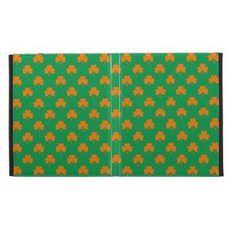 Orange Heart Shamrocks on Irish Green St.Patrick's iPad Cases