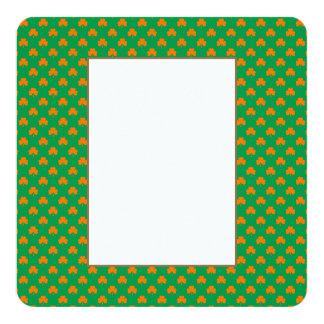 Orange Heart Shamrocks on Irish Green St.Patrick's 13 Cm X 13 Cm Square Invitation Card