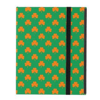 Orange Heart Shamrocks on Irish Green St.Patrick's iPad Case