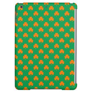 Orange Heart Shamrocks on Irish Green St.Patrick's iPad Air Covers