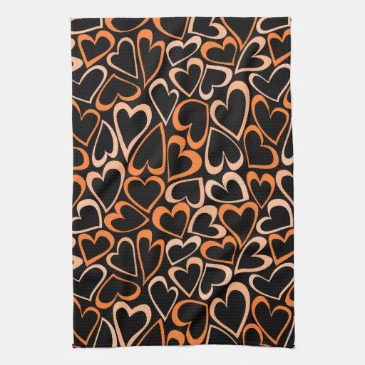 Orange Hearts Kitchen Towel