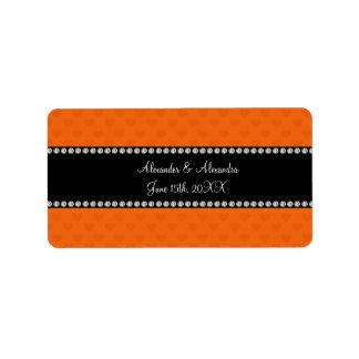Orange hearts wedding favors address label