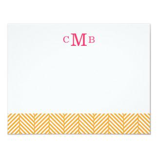 Orange Herringbone Custom Monogram Stationery Card
