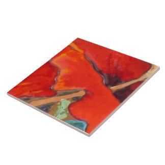 Orange Hibiscus 6 of 12 Ceramic Tile