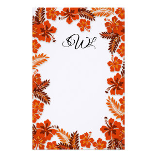 Orange Hibiscus Border Monogrammed Blank Paper