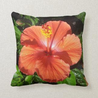 Orange Hibiscus Cushion