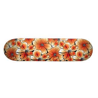 Orange hibiscus custom skate board