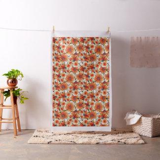 Orange hibiscus fabric
