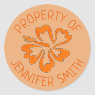 Orange Hibiscus Flower Personalized Property of Classic Round Sticker