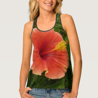 Orange Hibiscus Flower Tropical Floral Singlet