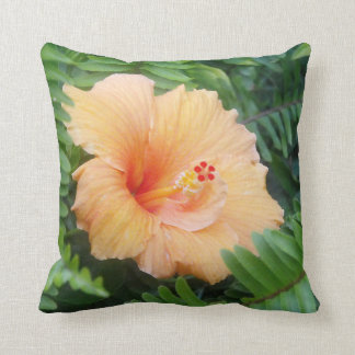 Orange Hibiscus Flower with Ferns Cushion