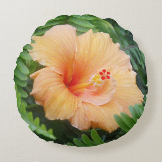 Orange Hibiscus Flower with Ferns Round Cushion