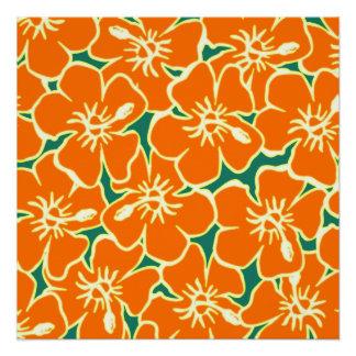 Orange Hibiscus Flowers Hawaiian Poster