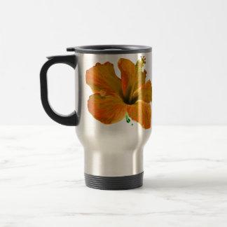 Orange Hibiscus Flowers Travel Mug