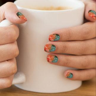 Orange Hibiscus on Beads Nails Minx Nail Art