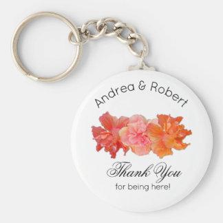 Orange Hibiscus Personal Thank You Key Ring Favor