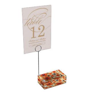 Orange hibiscus place card holder