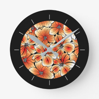 Orange hibiscus round clock