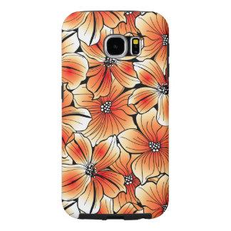 Orange hibiscus samsung galaxy s6 cases