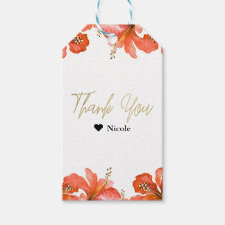 Orange Hibiscus Tropical Flowers White Party Favor