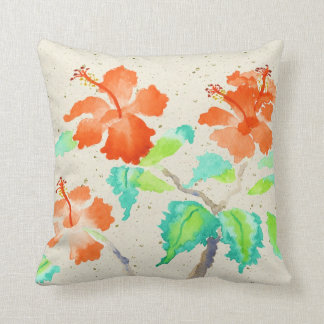 Orange Hibiscus Watercolor Painting Beige Washi Cushion
