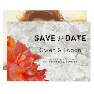 Orange Hibiscus Wedding Save the Date Photo Card