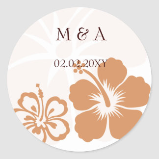 orange hibiscus wedding stickers