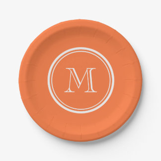Orange High End Colored Monogrammed Paper Plate