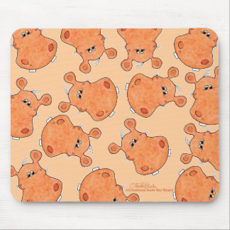 Orange Hippo Head collage Mouse Pad