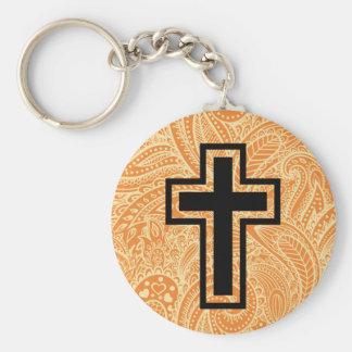 Orange Holy Christian Cross Wooden Keychain