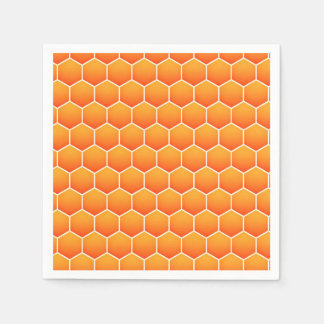 Orange honeycomb pattern paper napkins
